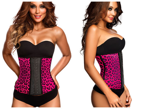 2024 Latex Sport Workout Waist Cincher Corset Animal Print