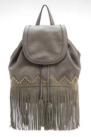 Studded Fringe Vegan Leather Backpack