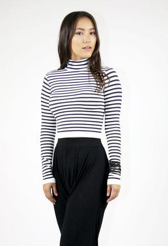 Striped Long Sleeve TurtleNeck Crop Top