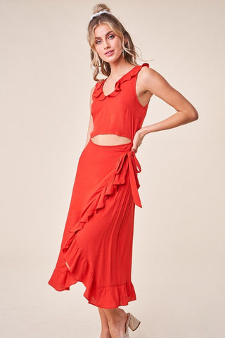 Cali Ruffle Wrap Dress