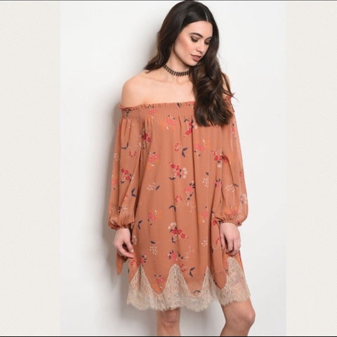 Dusty Floral Bohemian Dress
