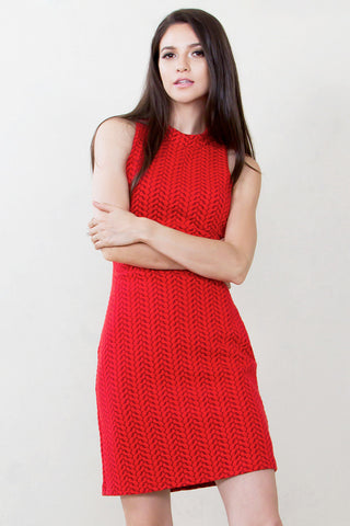 Lady In Red Knit Dress