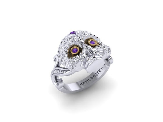 Large Sugar Skull Ring with Amethyst-UDINC0432