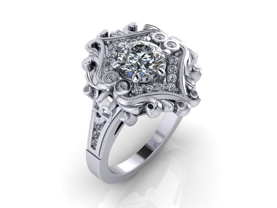 Secret Skull Engagement Ring-UDINC0653