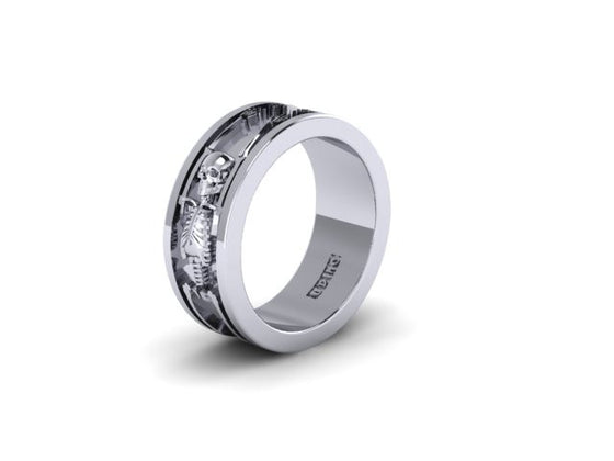 full bodied skeleton band udinc0563 - Skull Wedding Rings