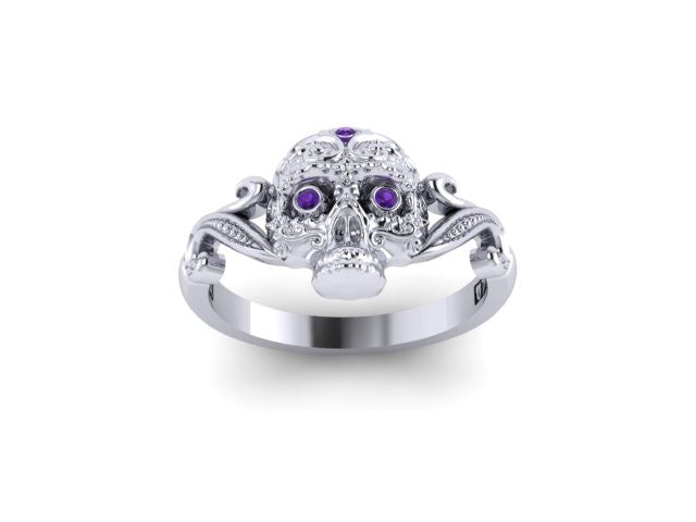 Small Sugar Skull Fashion Ring in Sterling Silver with Amethyst- UDINC0433