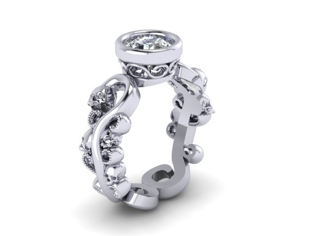Secret Skull Engagement Ring-UDINC0566