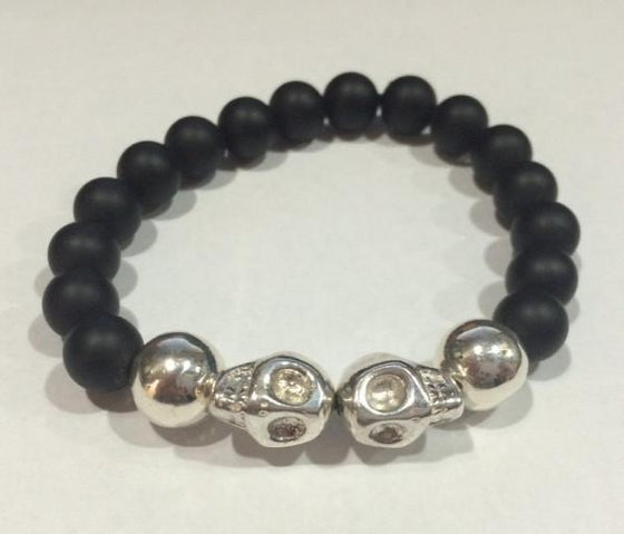 Black Onyx Bead Bracelet with STERLING SILVER Skull Beads- UDINC0440