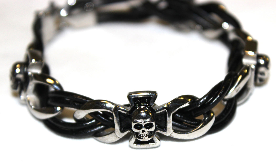 Stainless Steel Cross and Skull Leather Bracelet- UDINC0437