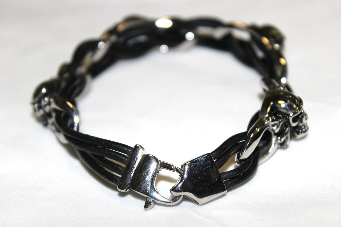Stainless Steel Skull and Bone Leather Bracelet -UDINC0441
