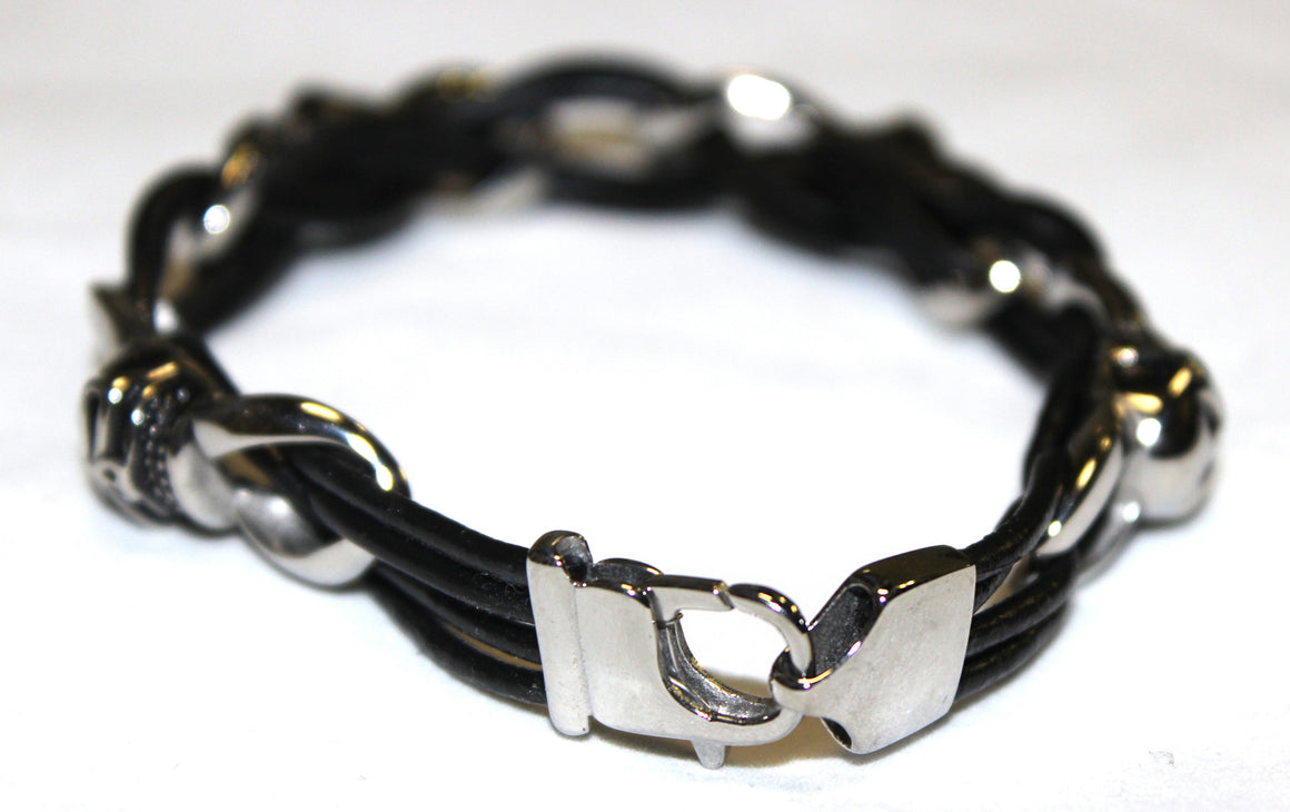 Stainless Steel Skull Leather Bracelet - UDINC0447