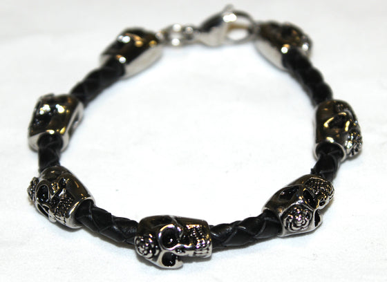 Stainless Steel Day of the Dead Skull Beads with Leather Bracelet- UDINC0451