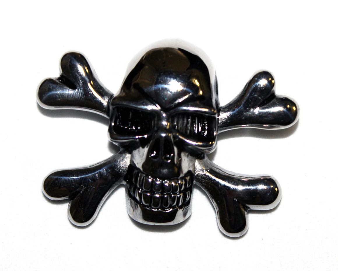 Stainless Steel Large Skull and Cross Pendant- UDINC0466