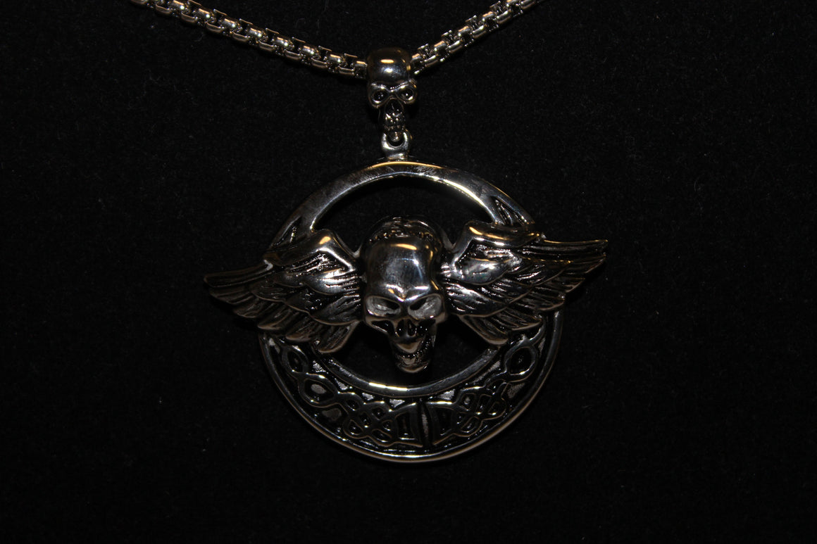 Stainless Steel Circle Skull with Wings Pendant- UDINC0470