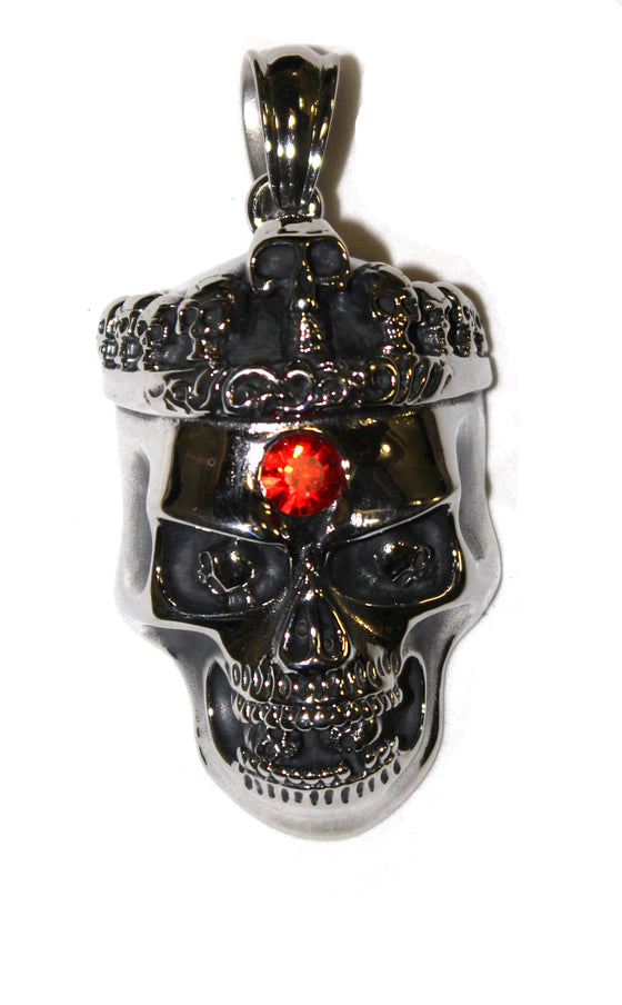 Stainless Steel Large Skull Crown with Red Stone Pendant- UDINC0472
