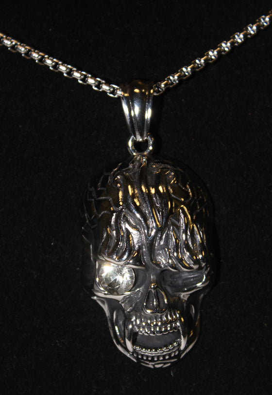 Stainless Steel Large Vampire Skull Pendant with White Stone- UDINC0475