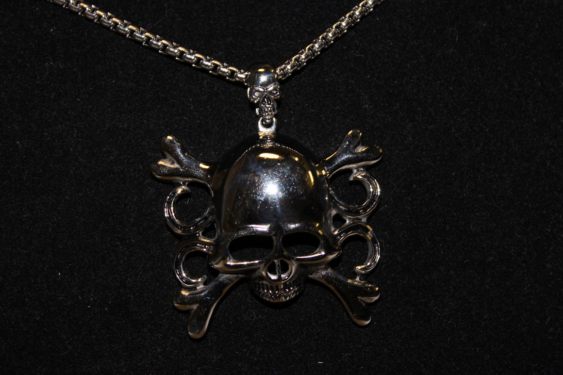 Stainless Steel Large Skull with Cross Bones Pendant- UDINC0484