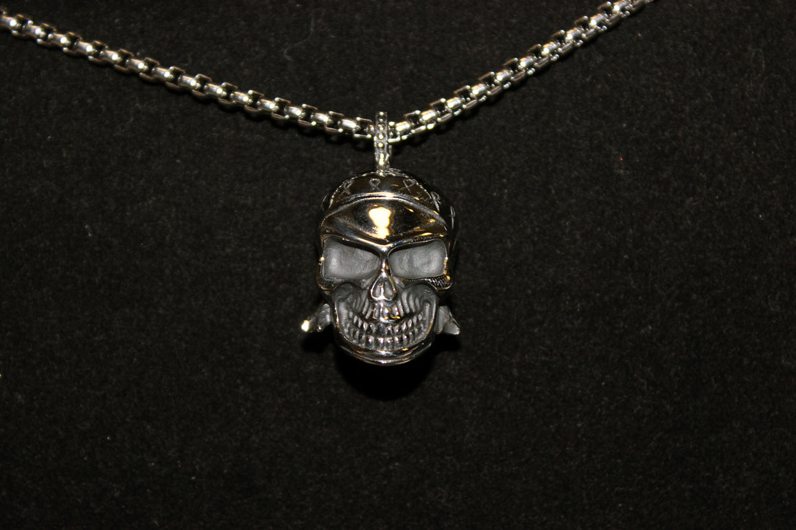 Stainless Steel Small Skull Pendant with Ribbons on Helmet- UDINC0491