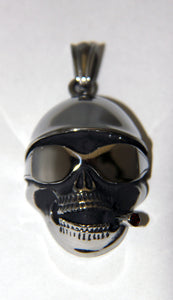 Stainless Steel Skull with Helmet and Cigar Pendant- UDINC0487