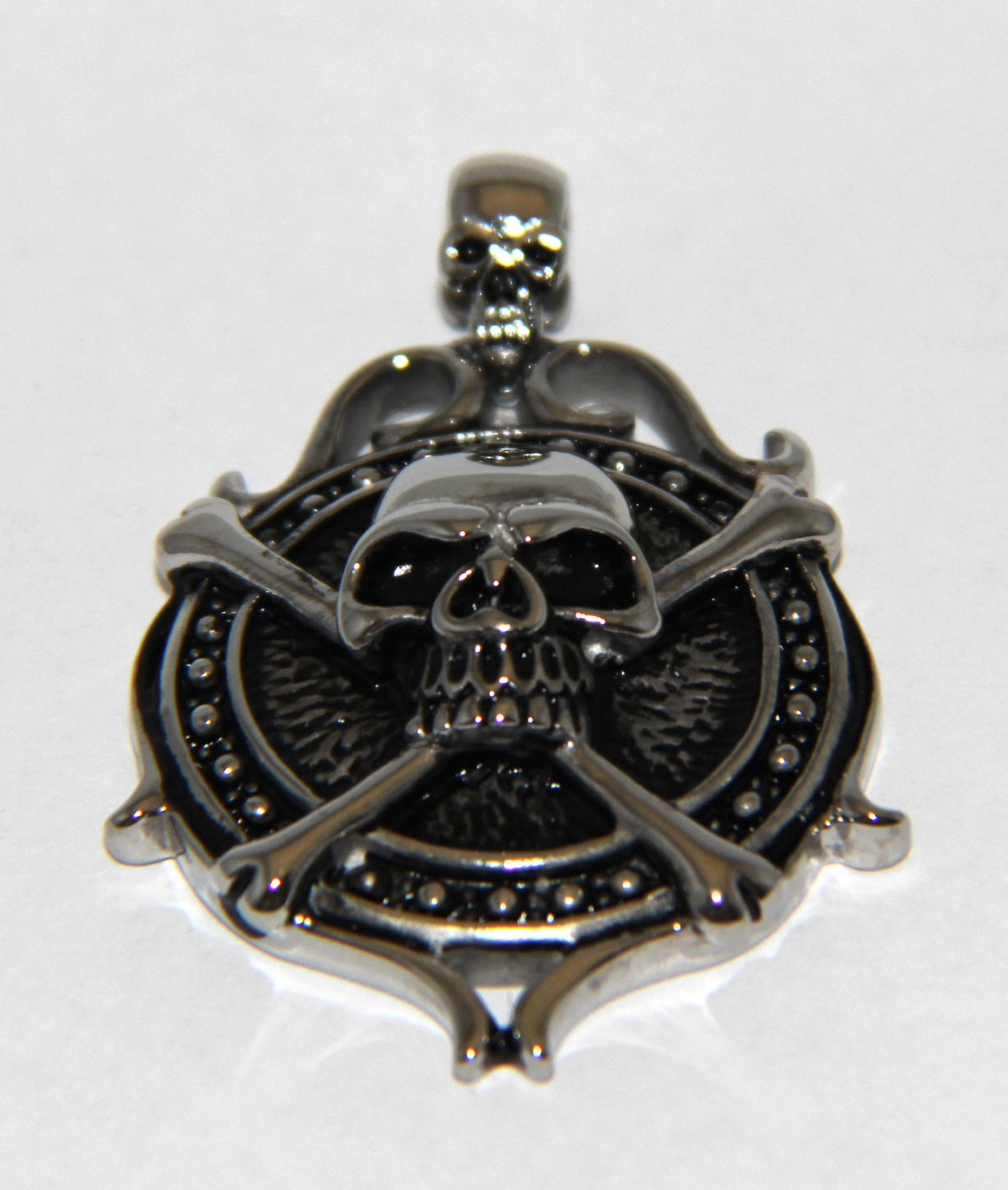 Stainless Steel Skull Shield with Cross and Bone- UDINC0486