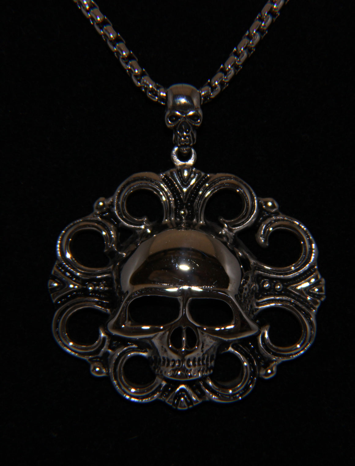 Stainless Steel Skull Pendant with Design- UDINC0485