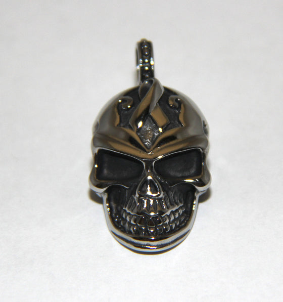 Stainless Steel Small Skull with Ribbon Pendant- UDINC0471