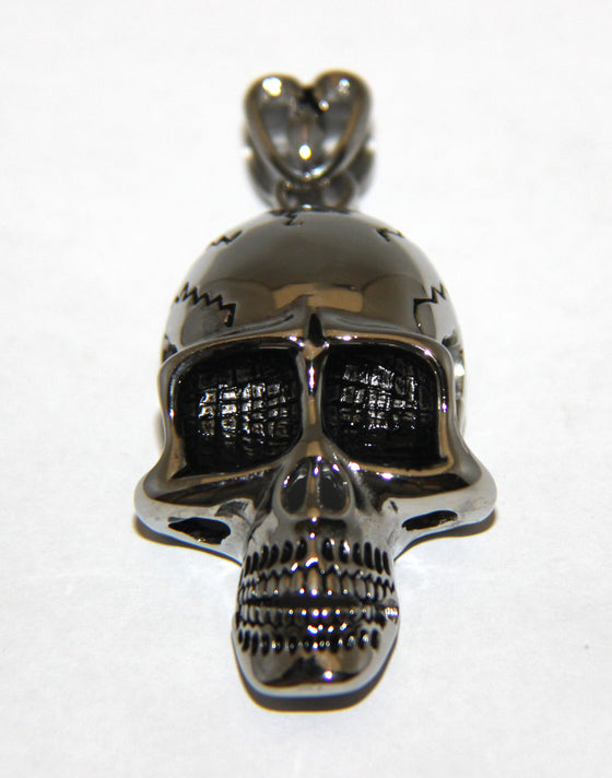 Stainless Steel Large Skull Pendant with Bail - UDINC0467