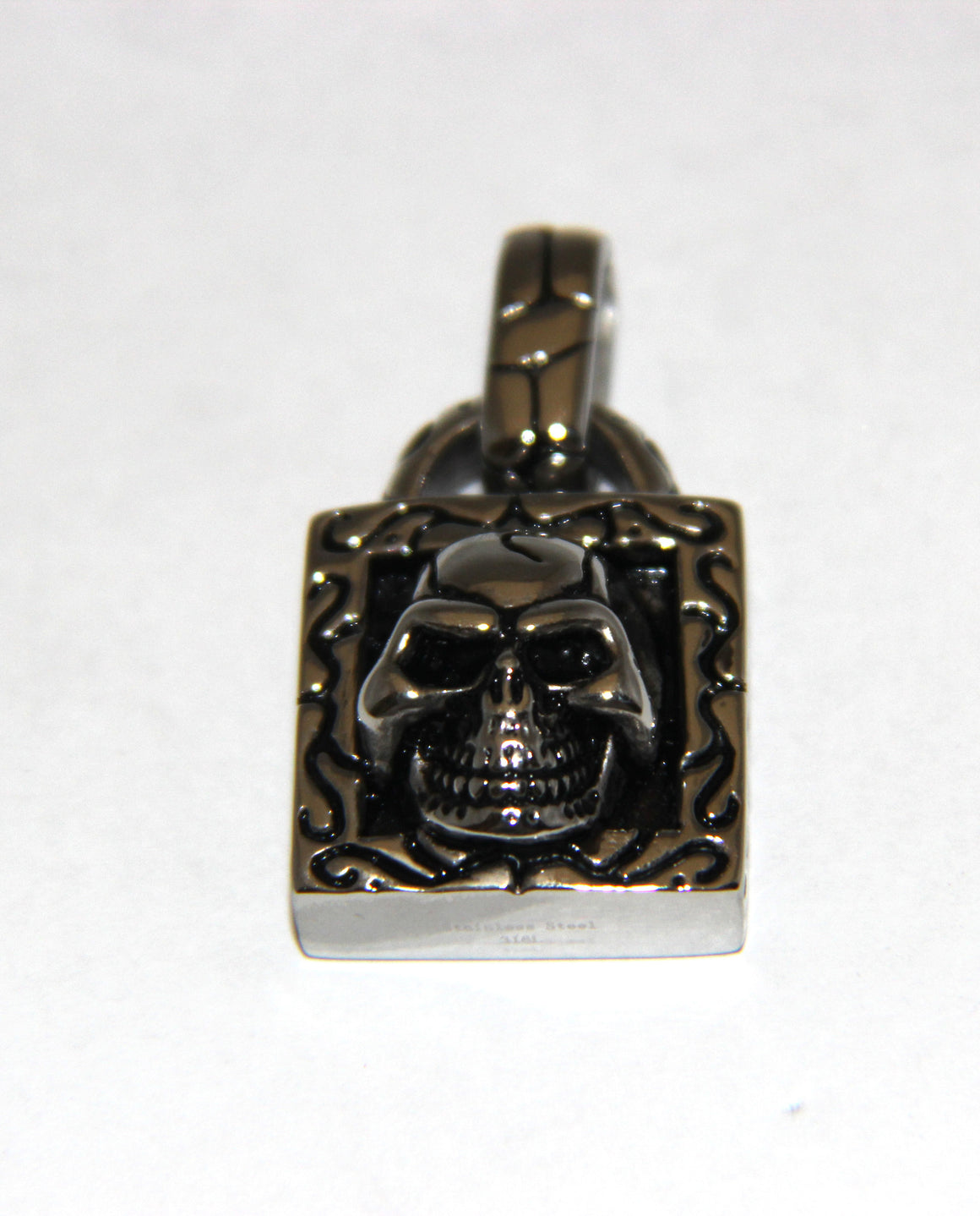 Stainless Steel Skull Square Pendant with Bail - UDINC0460