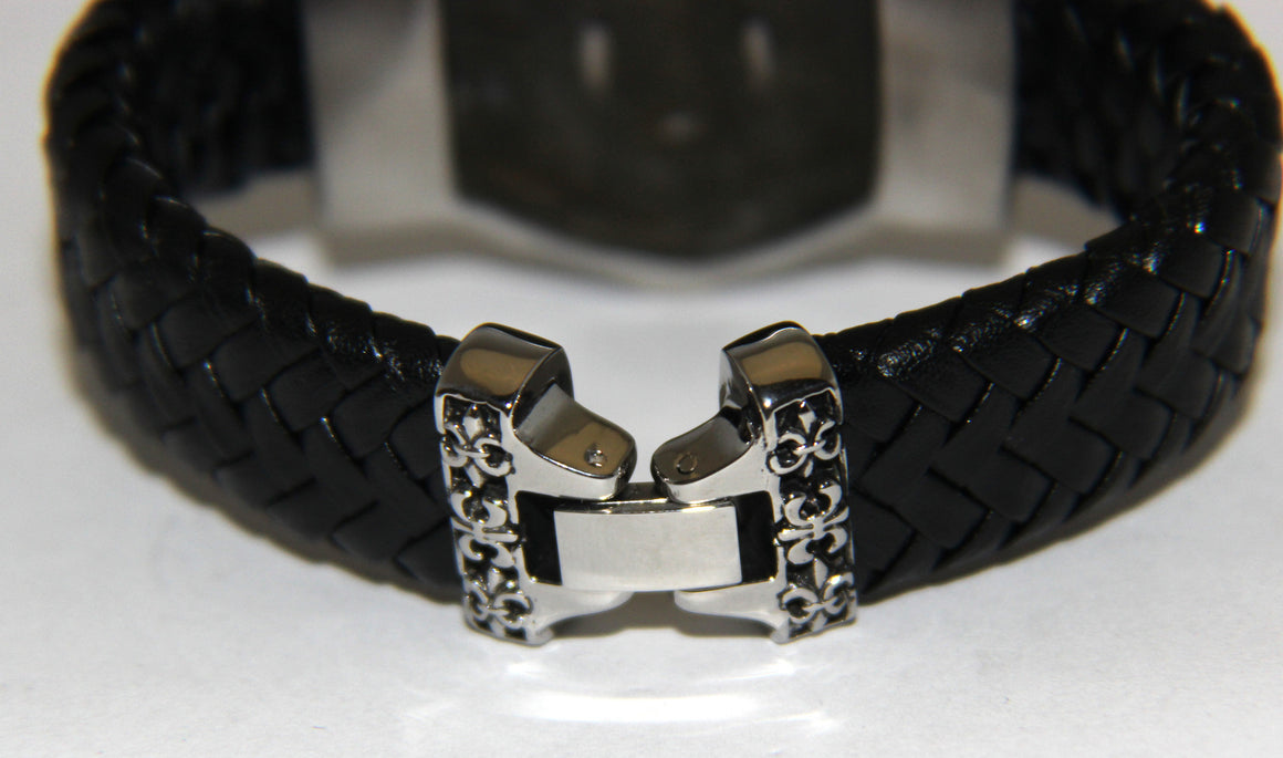 Stainless Steel Skull Leather Bracelet - UDINC0458