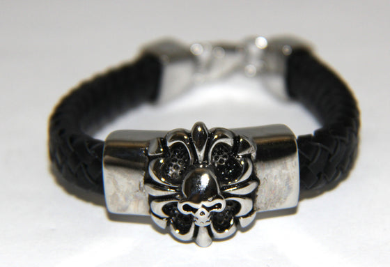 Stainless Steel Fleur-de-lis Skull Leather Bracelet -UDINC0442