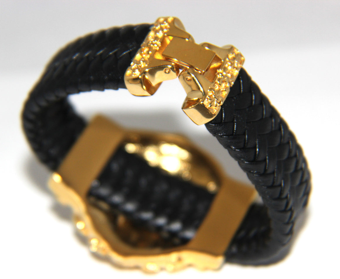 Stainless Steel Yellow Gold Plated Large Skull Leather Bracelet - UDINC0440