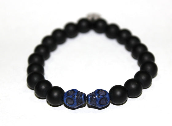 Black Onyx Bead Bracelet with Skulls Beads- UDINC0440