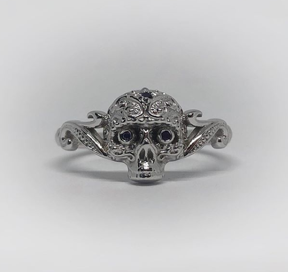 Small Sugar Skull Ring-UDINC0433