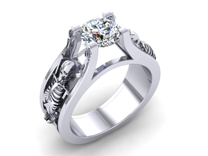 Secret Skull Engagement Ring-UDINC0333