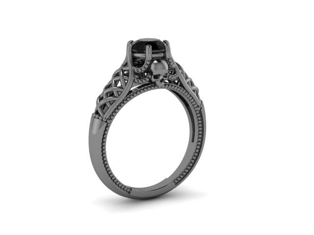 Secret Skull Engagement Ring-UDINC0556