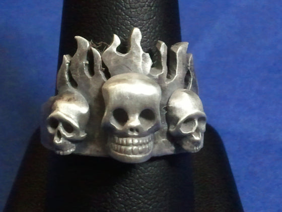 """Flaming Skull Trinity Ring"" .925 Sterling Silver. -UDINC0068"