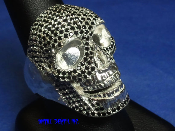 black natural diamond pave 62 gram white gold mens skull ring handmade jewelry bling Dark Patina