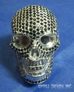 Realistic skull black diamond pave 925 sterling silver mens ring skull ring handmade jewelry