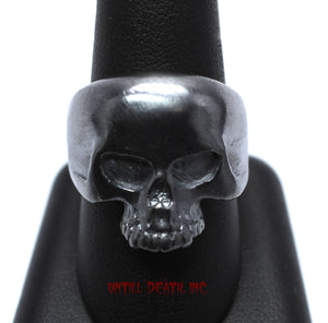 Dark Black Patina No Jaw Skull Ring. Heavy 925 Sterling Silver. All Men's US Sizes. UDINC0011