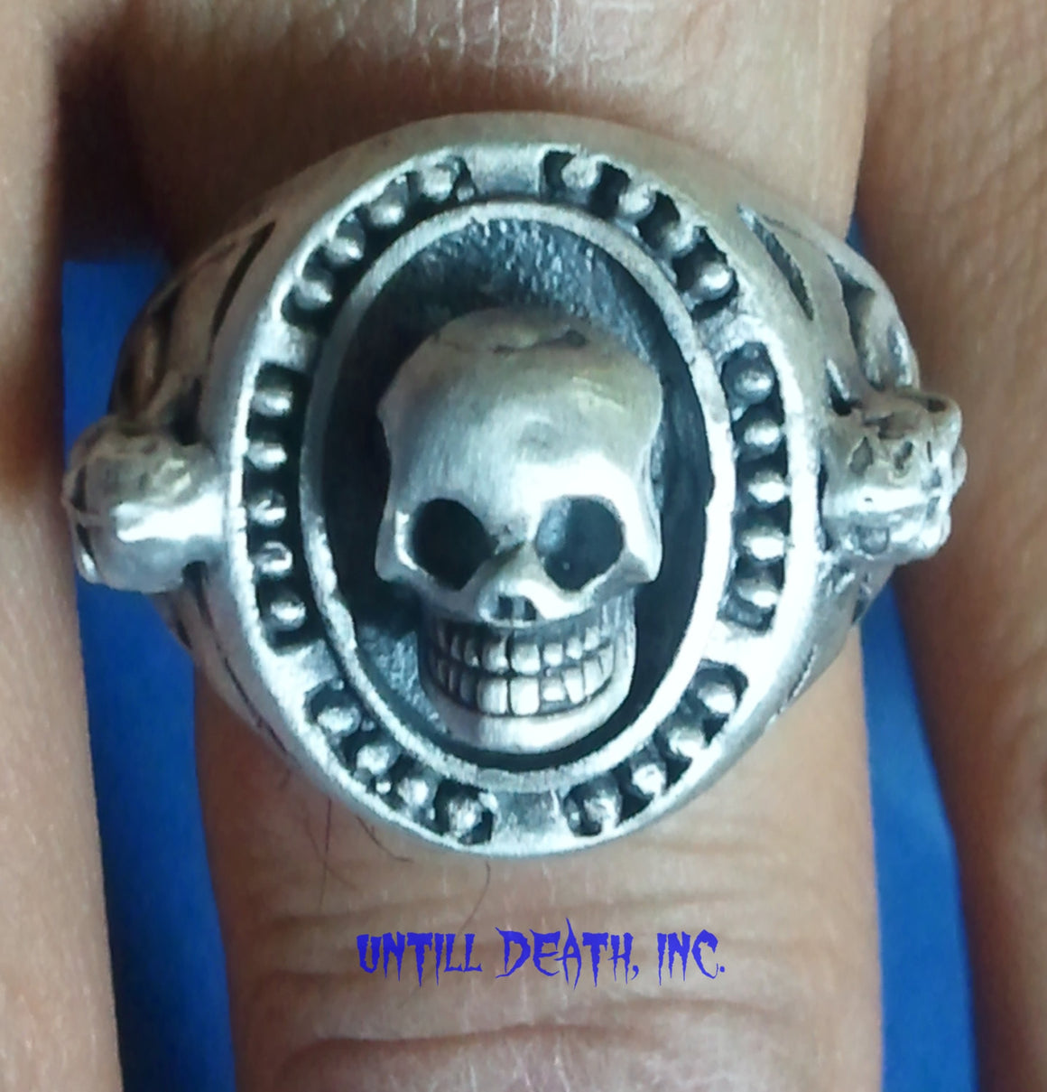 Memento Mori Beaded Skull Ring With Skull side accents 925 Sterling Silver-UDINC0030