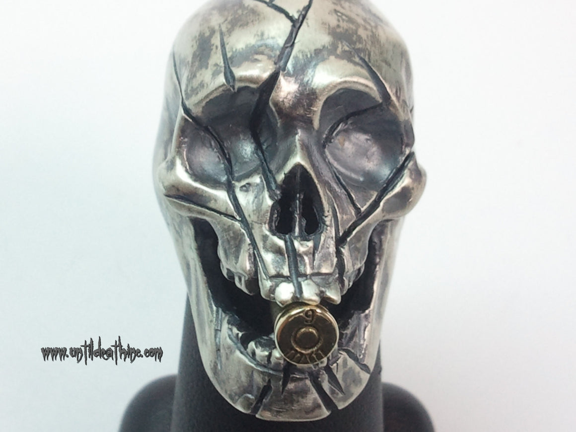 "UNTIL DEATH, INC. ""Big Daddy"" With Cracked Skull & Bullet in mouth .925 Silver Ring-UDINC0007"