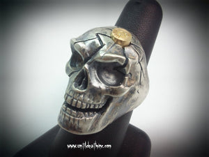 Big Daddy cracked skull with 9mm cartrage in Head in Sterling Silver -UDINC008