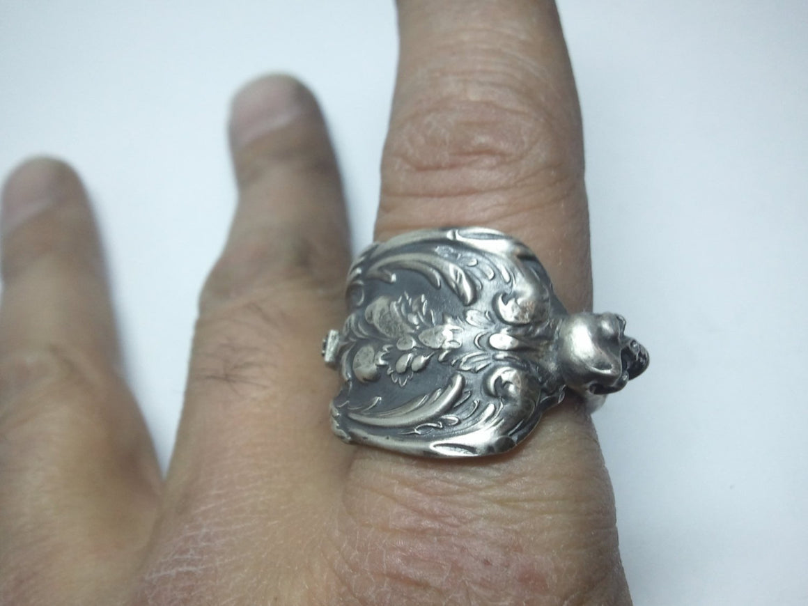 Antique Victorian Spoon Ring With skull accent 925 Sterling Silver Ring. Size 11.5 US Custom Made to Order in USA.