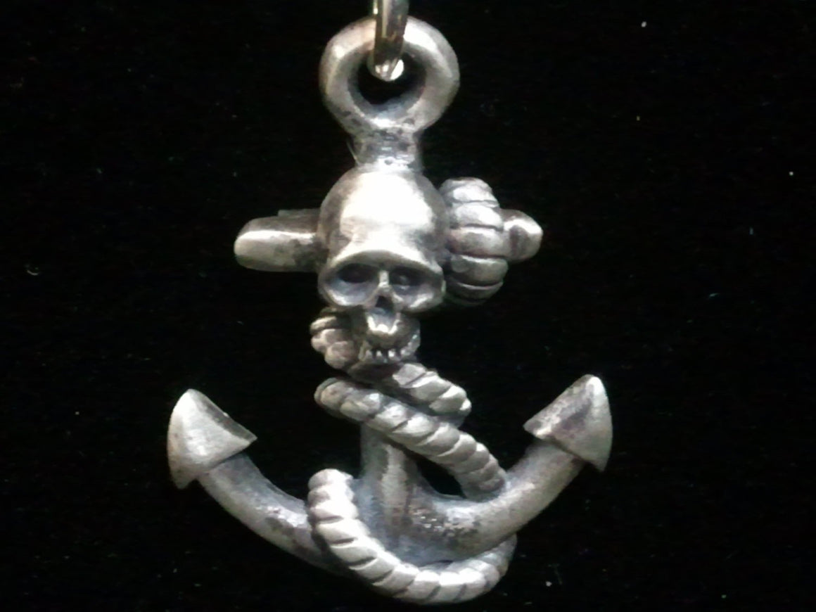 Anchor with Skull Pendant in STERLING SILVER