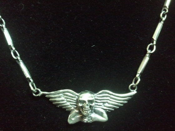 "Dark Gothic Winged angel Skull pendant  with 18"" Sterling Chain in Sterling Silver-UDINC0100"