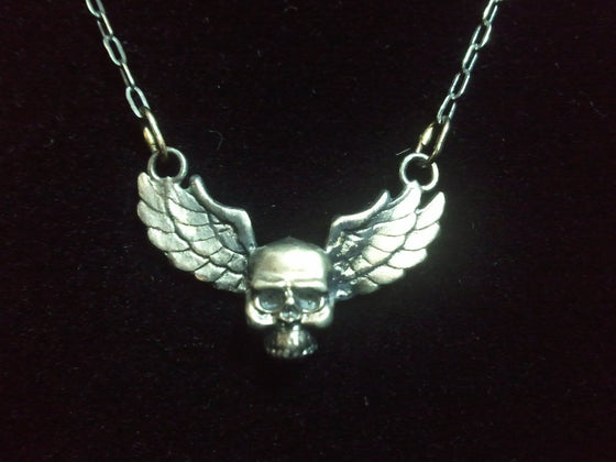 Dark Gothic Winged Skull Pendant in STERLING SILVER