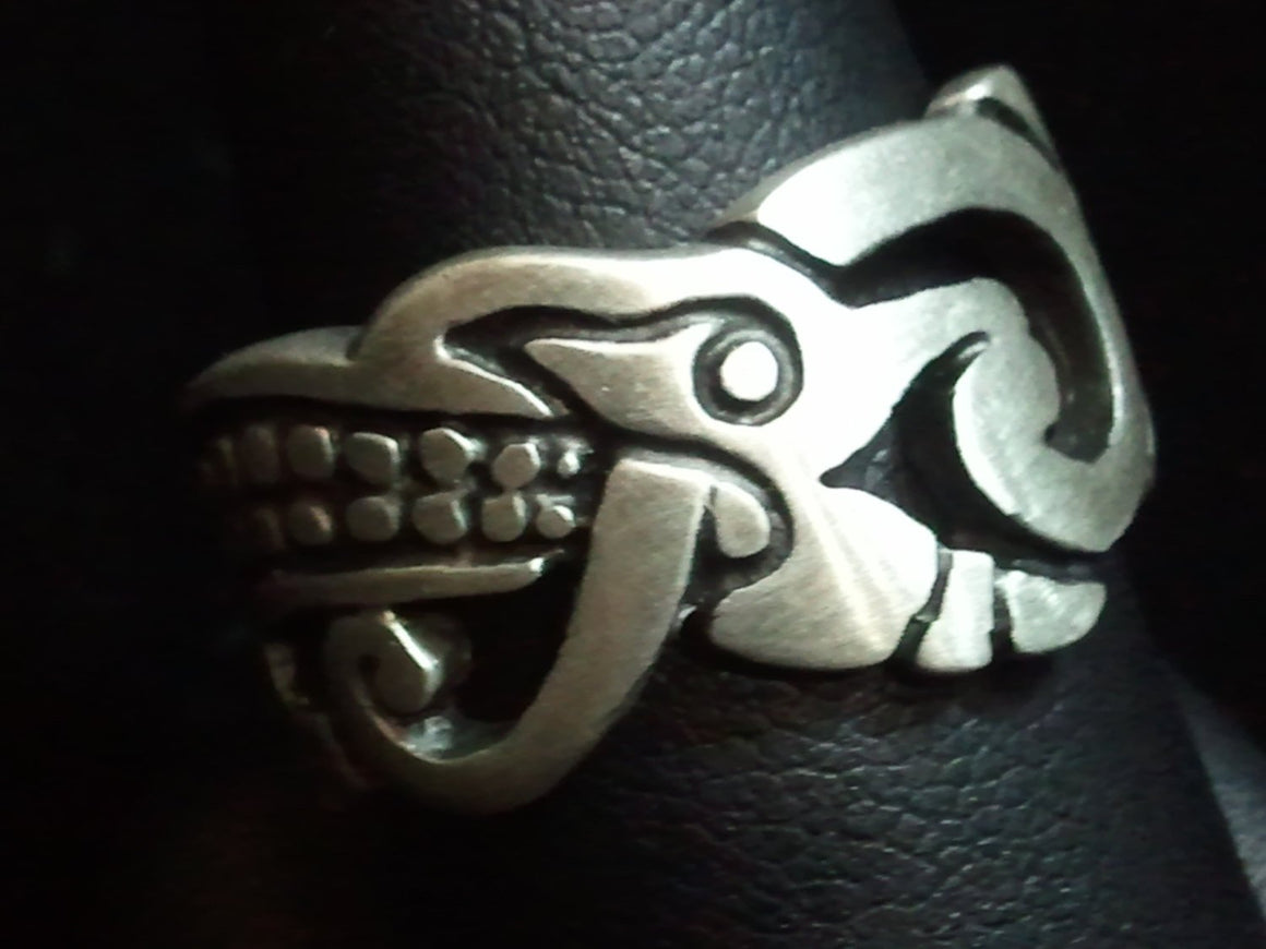 Aztec Mayan Serpent Jaguar .925 Sterling Silver Ring.-UDINC0018