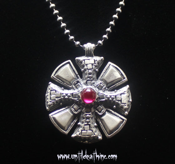 "Maltese Cross Pirate Medallion w/Red Stone 42 MM Pendant on 20"" Beaded Chain"