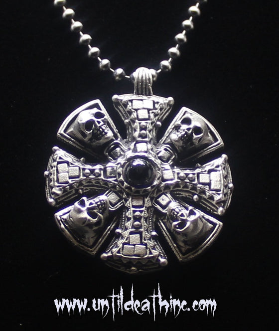"""Four Skulls Maltese Cross Pirate Medallion"" in STERLING SILVER- UDINC0146"
