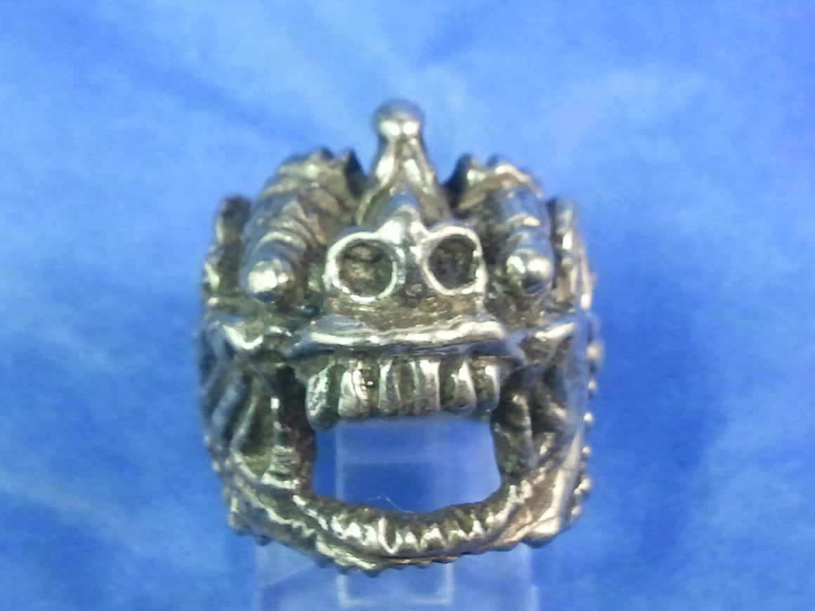 "Until Death, Inc. ""Bali Crusty Demon Face"" Ring Heavy .925 Sterling Silver-UDINC0042"